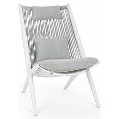 Bizzotto Homemotion Aloha Armchair in white painted aluminum with back covered in rope