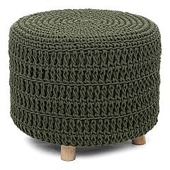 Bizzotto 0720669 Fixed stool - wooden frame with seat upholstered in green fabric Braid