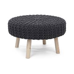 Bizzotto 0720675 Fixed stool - wooden frame with seat upholstered in dark gray fabric Braid