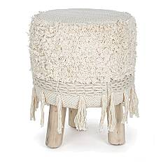Bizzotto 0720894 Fixed stool - wooden frame with seat covered in natural fabric Acapulco