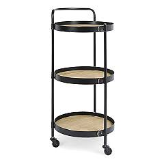 Bizzotto 0746554 Multifunction trolley - painted steel structure and shelves in water-based mdf finish Jerrod