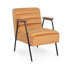 Bizzotto 0743695 Armchair with armrests - wooden / steel frame with seat covered in non-removable yellow ocher velvet Octav