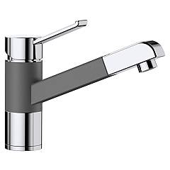 Blanco Zenos-s Kitchen mixer with hand shower - silgranit - rock gray / chrome Modern