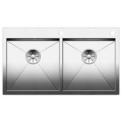 Blanco Zerox 400/400-if/a Semi-flush / flush-mount sink cm. 89 x 51 stainless steel - 10 mm outer radius Zerox