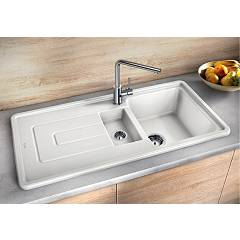 Photos 2: Blanco 1520425 Tolon 6 S Recessed sink 100 x 50 white crystal - right drip