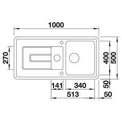 Photos 3: Blanco 1520425 Tolon 6 S Recessed sink 100 x 50 white crystal - right drip