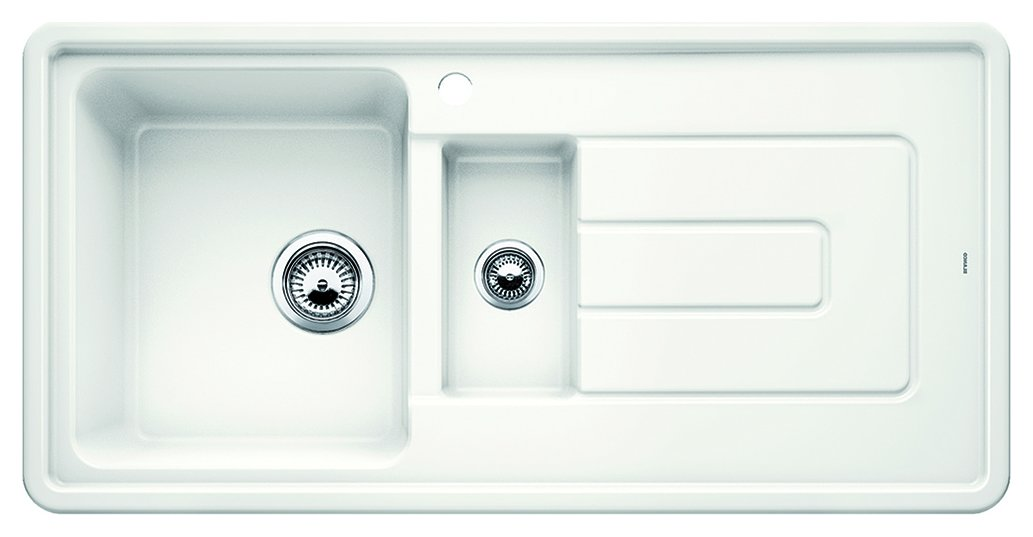 Photos 1: Blanco 1520425 Tolon 6 S Recessed sink 100 x 50 white crystal - right drip