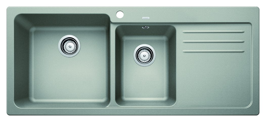Photos 1: Blanco 1520595 Blanco Naya 8 S Recessed sink 116 x 50 pearl gray - right drip