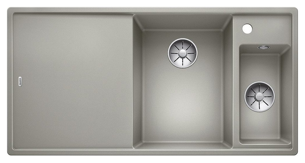 Photos 1: Blanco 1523465 Axia 3 6 S Pearl gray recessed sink 100 x 51 - left drainer