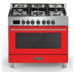 sale Bompani Bo689da/n - Tech The Kitchen From The Docking Cm. 90 X 60 - Red 5 Burners - 1 Electric Oven