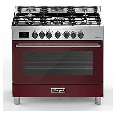 sale Bompani Bo689dc/n - Tech The Kitchen From The Docking Cm. 90 X 60 - Burgundy 5 Burners - 1 Electric Oven