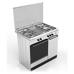 Bompani Bi953ea/l Kitchen from accosto cm. 90 x 60 - inox 4 fires - 1 gas oven - cylinder holder Ecoline