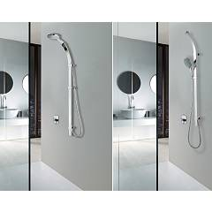 Photos 4: Bossini D47004.030 Flat Curved shower rail h 120 - chrome with hand shower