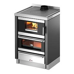 Cadel Kook 60 4.0 Built-in wood stove top and rear smoke outlet 6 kw - anthracite metal coating