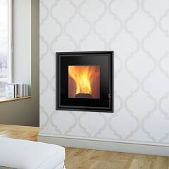 Caminetti Montegrappa Mb Pellet W15 Dx Pellet fireplace for water heating 15 kw loading to right Essential V