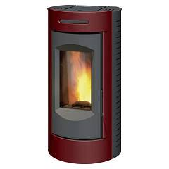Caminetti Montegrappa Tour Evo Ls9 Ventilated hot air pellet stove with 9 kw assy system - bordeaux lucido majolica coating Tour Evo Ls