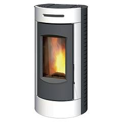 Caminetti Montegrappa Tour Evo Ls9 Ventilated hot air pellet stove with 9 kw assembly system - glossy white with majolica coating Tour Evo Ls