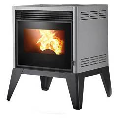 sale Caminetti Montegrappa Lab Ap6 6192306700 + 2060912702 Pellet Stove Hot Air Fan 6 Kw - Grey Metallic
