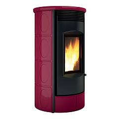 Caminetti Montegrappa Lhw10 Wood heating stove for water heating 10 kw - bordeaux lucido majolica coating Evoca Xw