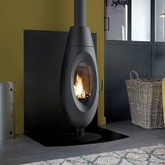 Caminetti Montegrappa Ovi Wood stove hot air natural convection 10 kw - anthracite cast iron covering