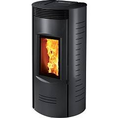 Caminetti Montegrappa Nc8 Ventilated hot air pellet stove with 8 kw coaxial upper smoke outlet - black painted steel cover Ronde Evo