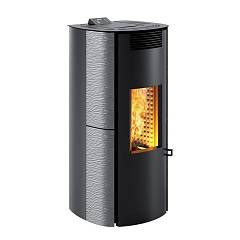Caminetti Montegrappa Ls6 Ventilated hot air pellet stove with 6 kw ass system - metal gray majolica coating Cima Evo