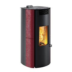 Caminetti Montegrappa Ls9 Ventilated hot air pellet stove with 9 kw ass system - glossy burgundy majolica coating Cima Evo