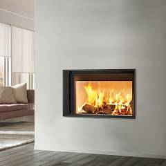 Caminetti Montegrappa Light 02n Wood-burning fireplace with natural convection hot air 13 kw - sliding door Essential 02