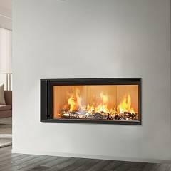 Caminetti Montegrappa Light 06n Wood-burning hot air fireplace with natural convection 15 kw - sliding door Essential 06
