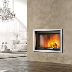 Caminetti Montegrappa Light 02v Wood-burning fireplace with ventilated hot air 14.5 kw - sliding door Minimal 02