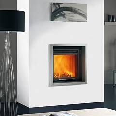 Caminetti Montegrappa Cm P01 Wood-burning fireplace with hot ventilated air 8.9 kw sliding door Minimal 01