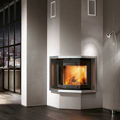Caminetti Montegrappa Mb Nuovo Trio Plus 60 Wood-burning fireplace hot air ventilated 10.3 kw door latch Minimal Trio