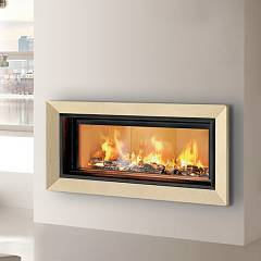 Caminetti Montegrappa Light 06v Wood-burning fireplace with ventilated hot air 15 kw - sliding door Frame 06