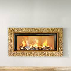 Caminetti Montegrappa Light 06v Wood-burning fireplace with ventilated hot air 15 kw - sliding door Stone 06