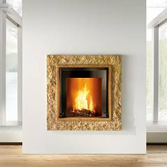 Caminetti Montegrappa Cm P01 Wood-burning fireplace hot air natural convection 8.6 kw sliding door Stone 01