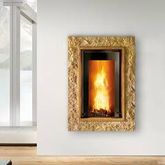 Caminetti Montegrappa Cm P03 Wood-burning fireplace hot air ventilated 10.3 kw door latch Stone 03