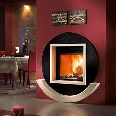 Caminetti Montegrappa Cm P01 Wood-burning fireplace with hot ventilated air 8.9 kw sliding door India