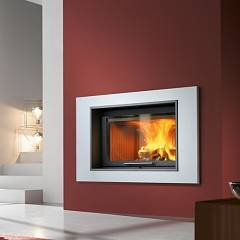 Caminetti Montegrappa Light 02n Wood-burning hot air fireplace with natural convection 13 kw - sliding door San Diego