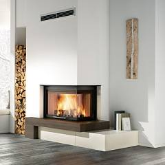 Caminetti Montegrappa Cm P05v Dx Ventilated hot air wood-burning fireplace with 11 kw radio control - sliding door open to the right Logico