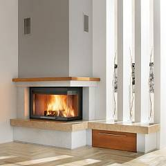 Caminetti Montegrappa Cm P05v Sx Ventilated hot air wood-burning fireplace with 11 kw radio control - sliding door open to the left Spazio Con Panca