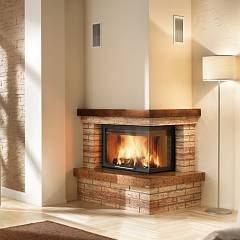 Caminetti Montegrappa Cm P05n Dx 10.5 kw wood-burning hot air fireplace with natural convection - sliding door open to the right Rustico