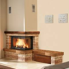 Caminetti Montegrappa Cm P05v Dx Ventilated hot air wood-burning fireplace with 11 kw radio control - sliding door open to the right Rustico Con Panca