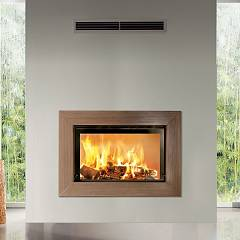 Caminetti Montegrappa Light 80-21 Wood-burning fireplace to heat water 21 kw - sliding door Venghè 80l