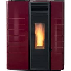 Caminetti Montegrappa As9 Poele granules 9 kw a air chaud - bordeaux brillant - miroir verre Lean A Mirror