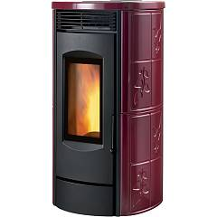 Caminetti Montegrappa Lxe9 Poele a granules chaud conduits a air chaud 9 kw - enduction majolique bordeaux lucido Alpina Xw