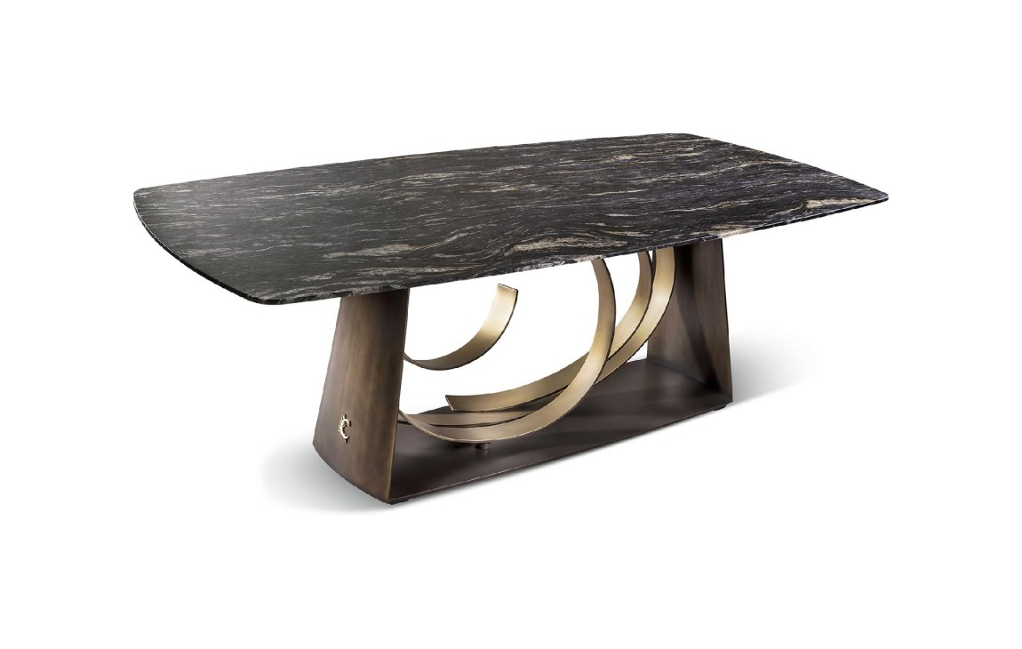 Cantori Rodin Fixed Table L240 X H75 X P120 Metal Structure In Bronze Finish With Wooden Top Marble Vieffetrade