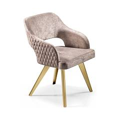 Cantori Adria Armchair - decorated metal structure with seat / back upholstered in eco - leather fabric | velvet | skin