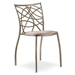 Cantori Julie Stackable iron chair with upholstered sitting