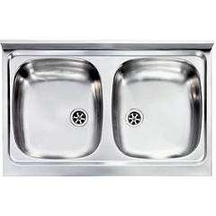 Cm Lavelli 031032 Supporting sink cm. 80 x 50 prelucided stainless steel 2 tanks Mondial Appoggio