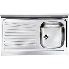 Cm Lavelli 031033 Dx Supporting sink cm. 90 x 50 pre-loaded stainless steel 1 right tank + left dropped Mondial Appoggio